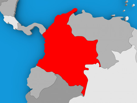 Colombia in red on political map. 3D illustration.