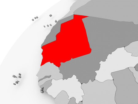 Map of Mauritania in red on grey political globe. 3D illustration.
