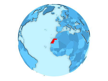 Western Sahara highlighted in red on blue political globe. 3D illustration isolated on white background. Stock Photo