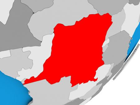 3D render of Democratic Republic of Congo on political globe. 3D illustration.