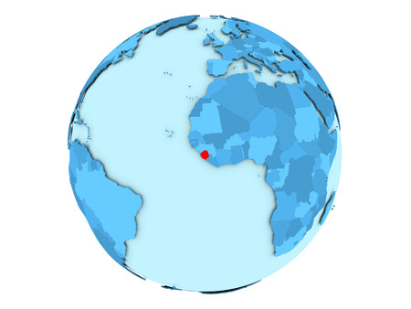 Sierra Leone highlighted in red on blue political globe. 3D illustration isolated on white background.