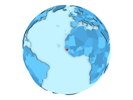 Guinea-Bissau highlighted in red on blue political globe. 3D illustration isolated on white background.