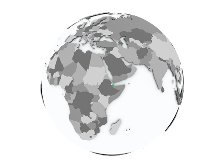 Djibouti on political globe with embedded flags. 3D illustration isolated on white background. Stock Photo