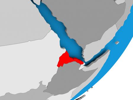3D render of Eritrea on political globe. 3D illustration.
