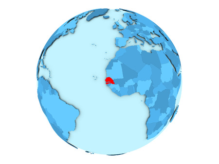 Senegal highlighted in red on blue political globe. 3D illustration isolated on white background.