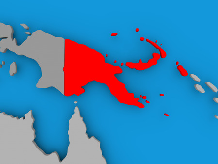 Papua New Guinea in red on political map. 3D illustration.