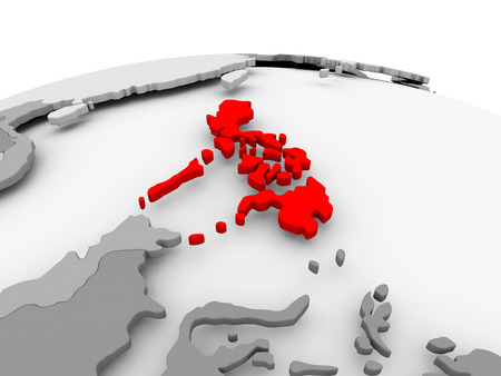 Philippines in red on grey model of political globe. 3D illustration.