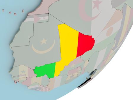 embedded: 3D render of Mali on political globe with embedded flag. 3D illustration.