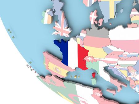embedded: France on bright political globe with embedded flag. 3D illustration.