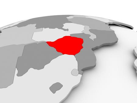 zimbabwe: Zimbabwe in red on grey model of political globe. 3D illustration.
