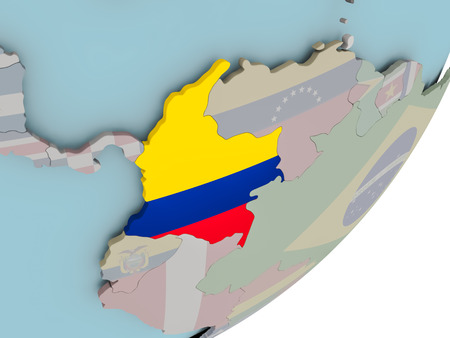 3D render of Colombia on political globe with embedded flag. 3D illustration.
