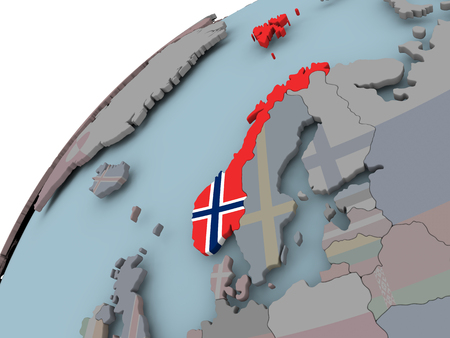 Norway on political globe with embedded flags. 3D illustration.