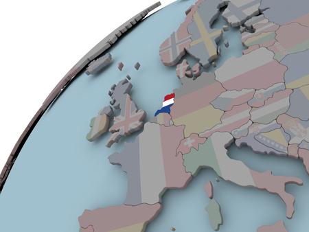 Nederland op politieke wereld met ingebouwde vlaggen. 3D illustratie. Stockfoto