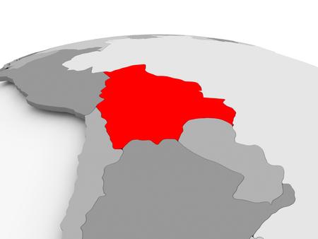 Bolivia in red on grey model of political globe. 3D illustration.