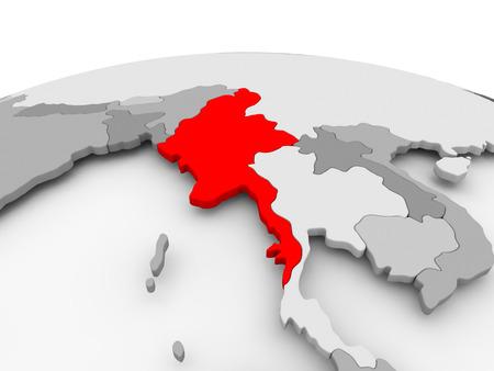 Myanmar in red on grey model of political globe. 3D illustration. Stock Photo