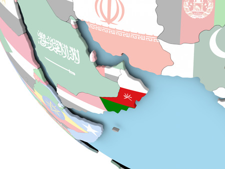 Oman on bright political globe with embedded flag. 3D illustration. Stock Photo