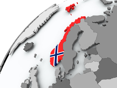 Norway with embedded flag on globe. 3D illustration. Stock Photo