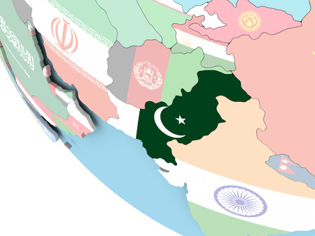 Pakistan on bright political globe with embedded flag. 3D illustration.