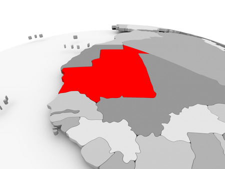 Mauritania in red on grey model of political globe. 3D illustration. Фото со стока
