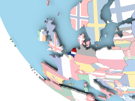 Netherlands on bright political globe with embedded flag. 3D illustration. Stock Photo