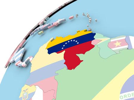 Mapa de Venezuela en el mundo político con bandera integrada. Ilustración 3D.