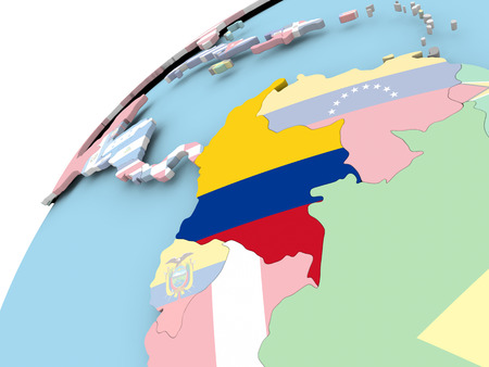 Map of Colombia on political globe with embedded flag. 3D illustration.