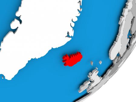 3D render of Iceland on political globe. 3D illustration.