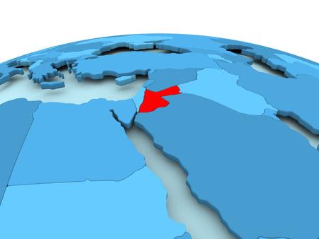 Kaart van Jordanië in het rood op blauwe politieke wereld. 3D illustratie. Stockfoto