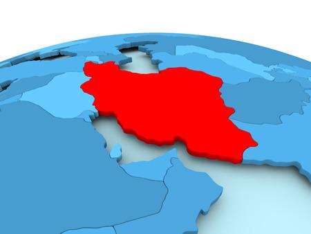 Kaart van Iran in het rood op blauwe politieke wereld. 3D illustratie.