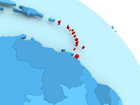 Caribbean highlighted on blue 3D model of political globe. 3D illustration.