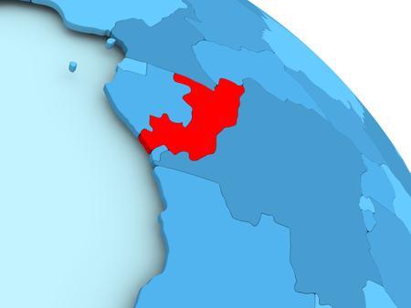 Der Kongo hob auf blaues Modell 3D des politischen Globus hervor. 3D-Darstellung. Standard-Bild - 87344895