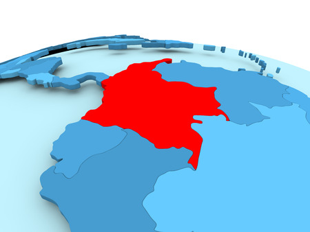 Map of Colombia in red on blue political globe. 3D illustration. Stock Photo