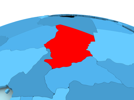 Map of Chad in red on blue political globe. 3D illustration. Stock Photo