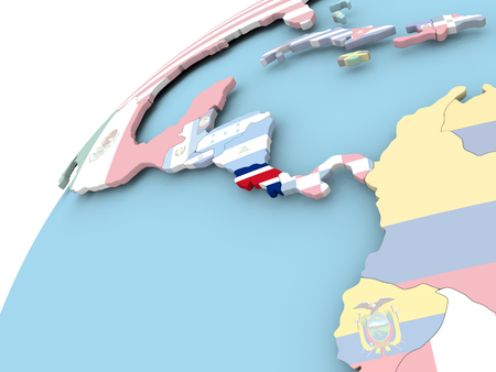 Map of Costa Rica on political globe with embedded flag. 3D illustration.