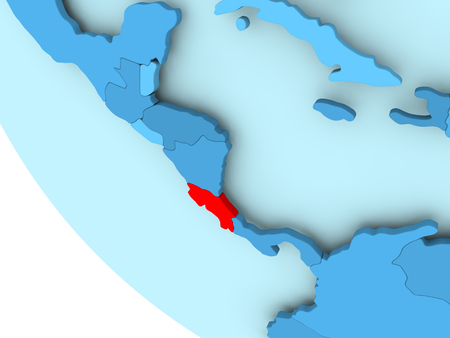 Costa Rica highlighted in red on blue political globe. 3D illustration.