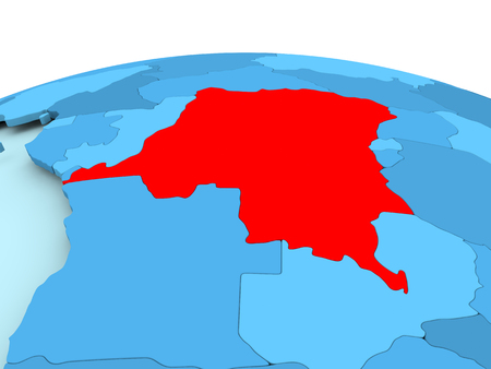 Map of Democratic Republic of Congo in red on blue political globe. 3D illustration.