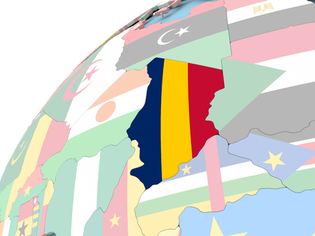Map of Chad on political globe with embedded flag. 3D illustration. Stock Photo