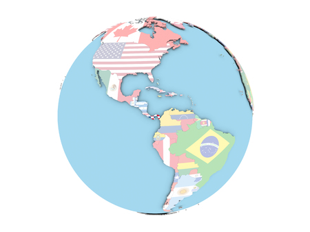 Panamá en el mundo político con banderas incrustadas. Ilustración 3D aislado sobre fondo blanco.