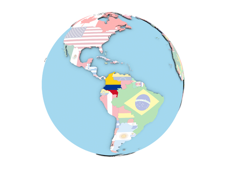 Colombia on political globe with embedded flags. 3D illustration isolated on white background.