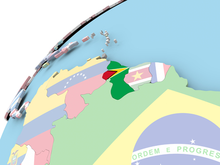 Map of Guyana on political globe with embedded flag. 3D illustration.