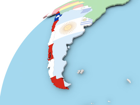 bandera chilena: Map of Chile on political globe with embedded flag. 3D illustration.