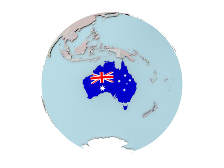 Australia on political globe with embedded flags. 3D illustration isolated on white background.