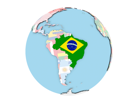 Brazil on political globe with embedded flags. 3D illustration isolated on white background.
