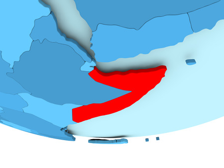 Illustration of Somalia highlighted in red on blue globe. 3D illustration.