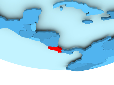 Illustration of Costa Rica highlighted in red on blue globe. 3D illustration.