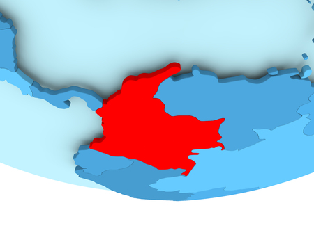 Illustration of Colombia highlighted in red on blue globe. 3D illustration.