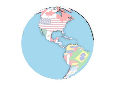 bandera de el salvador: El Salvador en el mundo político con banderas incrustadas. Ilustración 3D aislado sobre fondo blanco.
