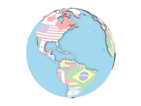 Puerto Rico on political globe with embedded flags. 3D illustration isolated on white background.