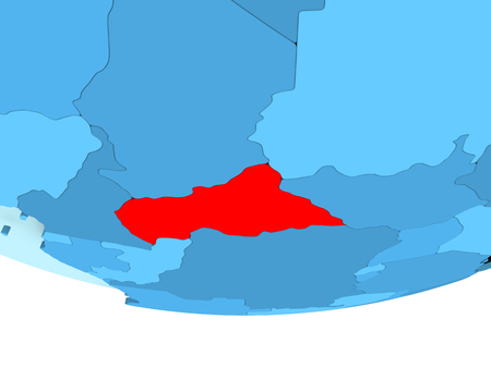 Illustration of Central Africa highlighted in red on blue globe. 3D illustration.