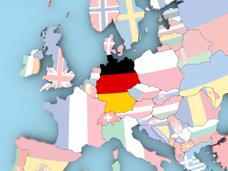 map of netherlands: Netherlands with embedded flag. 3D illustration. Stock Photo
